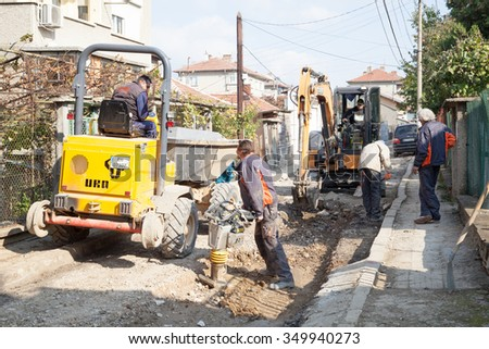 Gorna Oryahovitsa -October 30:Construction of object Plumbing repair and construction of additional drainage shahti. Workers and machinery at the site of October 30, 2015,Gorna Oryahovitsa, Bulgaria