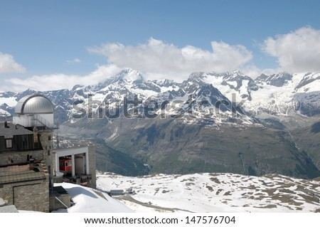 Gornergrat cable car station in Swiss Alps