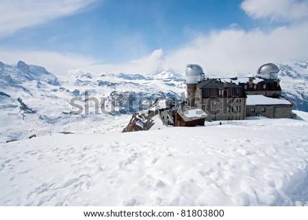 Gornergrat Train Station and Matterhorn peak, Zermatt Switzerland - stock photo