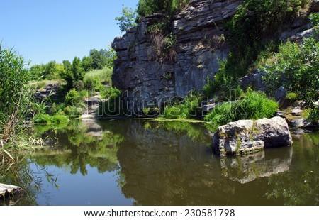Gornij Tikich river in Buki village, Ukraine - landscape.  - stock photo