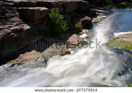 Gornij Tikich river in Buki village, Ukraine - landscape. - stock photo