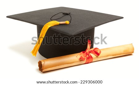 Gortarboard and graduation scroll, isolated on white  - stock photo