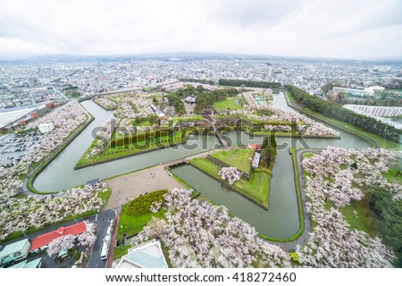 Goryokaku Park Top view  where is star of building for protect city build in 1855 and use a lot of worker to build its in Hakodate ,Hokkaido ,Japn - stock photo