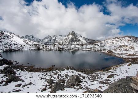 Gosaikunda - a frozen lake high up in Himalayas, in Nepal's Langtang National Park  - stock photo