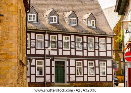 GOSLAR, GERMANY - MAY 4, 2015:  Half-timbered houses in the historic Town of Goslar. Goslar Historic Town is a UNESCO World Heritage site