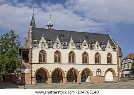 Goslar - Market Place with its Gothic town hall  - stock photo