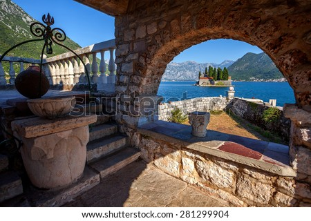 Gospa od Skrpela and St.George island.Montenegro. - stock photo