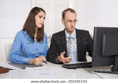 Gossip and harassment under business people on workplace - critic, chicane and censure. - stock photo