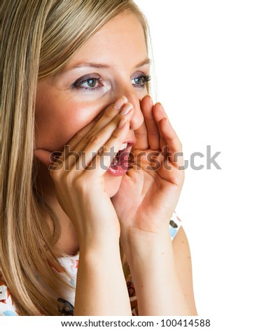 Gossip concept with a woman isolated on white - stock photo