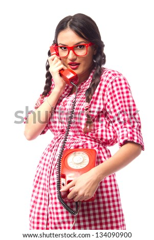 Gossip girl chatting over the telephone, red vintage - retro style theme - stock photo