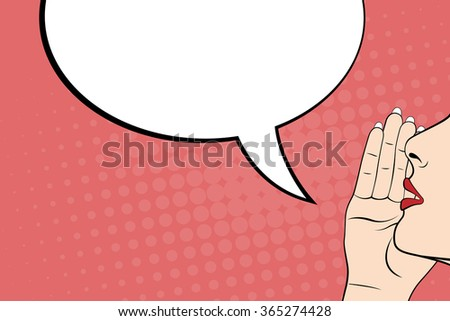 Gossiping women and blank speech bubble, pop art style - stock photo
