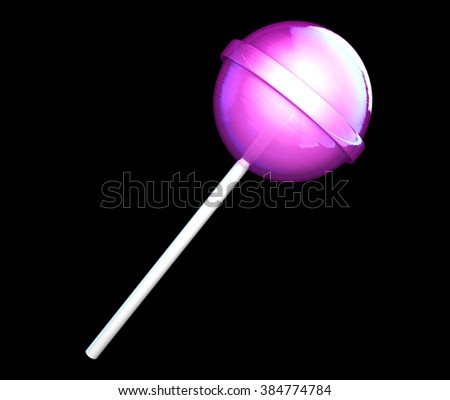 Gossy orange sweet lollipop candy. Candy on stick isolated on black background. - stock photo