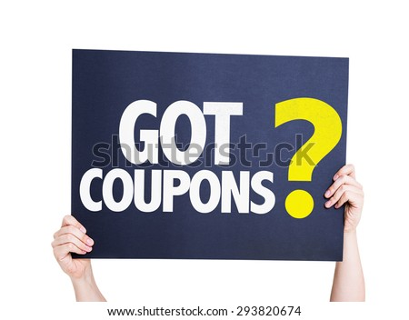 Got Coupons? card isolated on white - stock photo