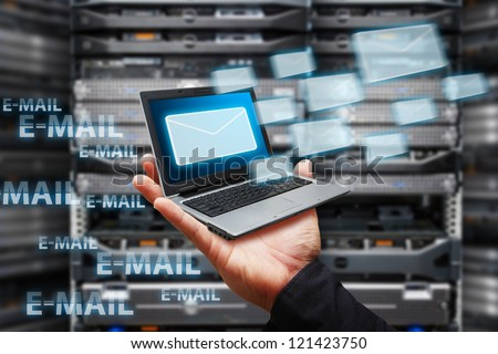 Got e mail from laptop - stock photo