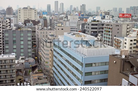 GOTANDA, TOKYO - AUGUST 23, 2014: Gotanda is one of the subcentral area in the metropolitan Tokyo. Characteristic is its mixture of districts; business center, residential area and night club streets.