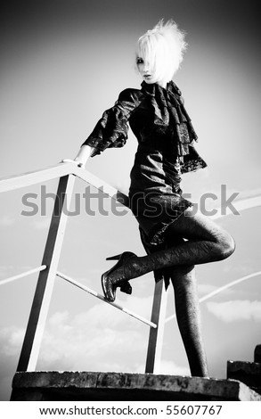Goth woman. Black and white. - stock photo