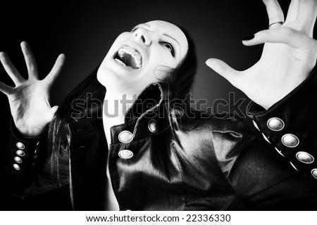 Goth woman horror portrait. Black and white. - stock photo