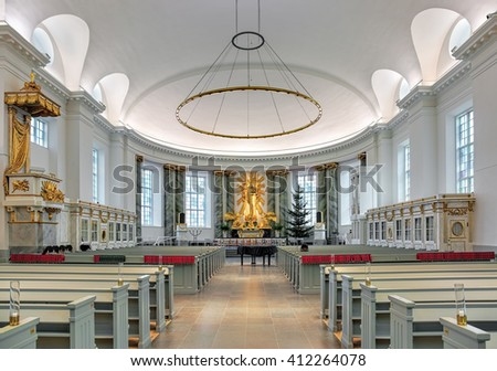 GOTHENBURG, SWEDEN - DECEMBER 15, 2015: Interior of Gothenburg Cathedral. The first cathedral was inaugurated in 1633. The current cathedral was established in 1804 and consecrated on May 21, 1815. - stock photo