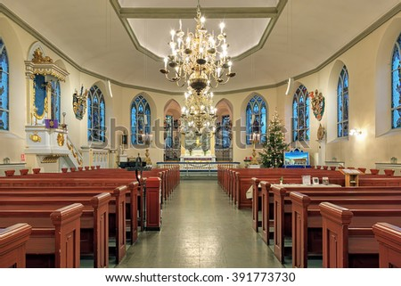 GOTHENBURG, SWEDEN - DECEMBER 15, 2015: Interior of the German Christinae church. Named after Queen Christina, it was inaugurated in 1748, and used by the German and Dutch congregation in Gothenburg. - stock photo