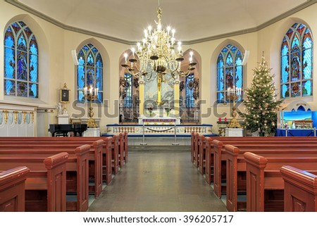 GOTHENBURG, SWEDEN - DECEMBER 15, 2015: Interior of the German Christinae church. Named after Queen Christina, it was inaugurated in 1748, and used by the German and Dutch congregation in Gothenburg.