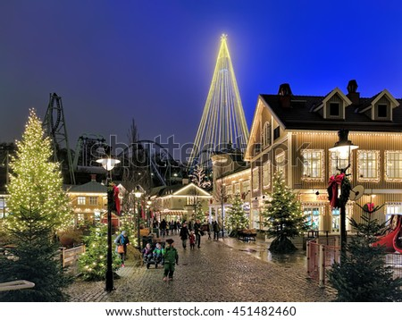 GOTHENBURG, SWEDEN - DECEMBER 17, 2015: Liseberg amusement park with Christmas illumination. It is one of the most visited amusement parks in Scandinavia and the most famous Christmas Market of Sweden - stock photo