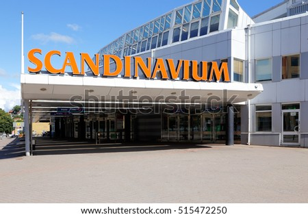 Gothenburg, Sweden - June 30, 2014: The entrance to the Scandinavium Arena with an ice hockey rink.