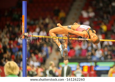 GOTHENBURG, SWEDEN - MARCH 1  Nafissatou Thiam (Belgium) places 2nd for the men's high jump event during the European Athletics Indoor Championship on March 1, 2013 in Gothenburg, Sweden. - stock photo
