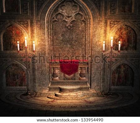 Gothic Altar Interior Background - stock photo