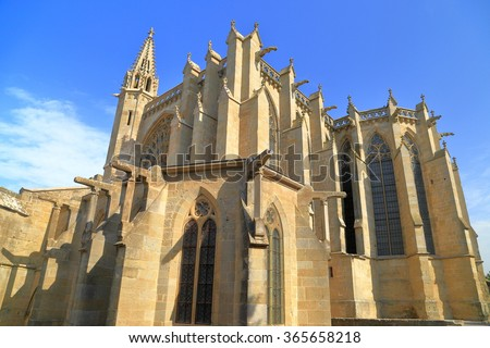 Gothic architecture of the old Basilica of Saint Nazaire, Carcassonne, Languedoc-Roussillon, France - stock photo