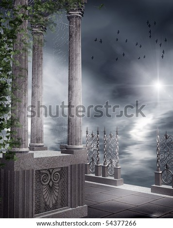 Gothic balcony with vines and cobwebs