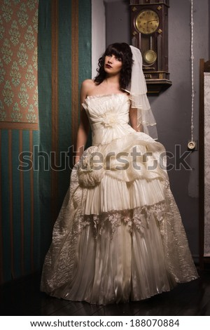 Gothic bride in the dark interior