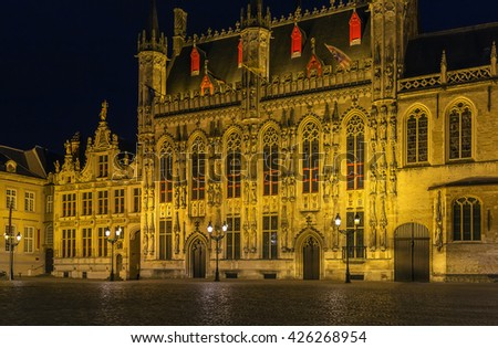 Gothic Bruges town hall on Burg square at evening, Belgium - stock photo