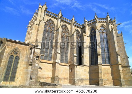 Gothic building of Saint Nazaire Basilica, Carcassonne, Languedoc-Roussillon, France - stock photo
