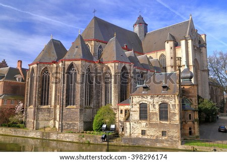 Gothic building of St Michael church in the old town of Ghent, Belgium - stock photo
