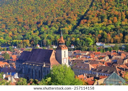 Gothic building of the Black Church in old town of Brasov, Romania - stock photo