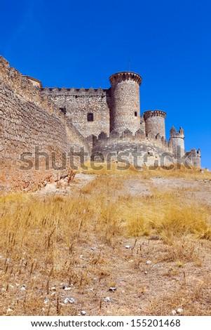 Gothic  castle in Belmonte.  Cuenca, Spain - stock photo