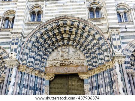 gothic Cathedral aka Duomo di Genova or Cattedrale di San Lorenzo seat of the Archbishop of Genoa vintage - stock photo