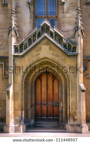 Gothic cathedral door Old Gothic door to a large church or cathedral.