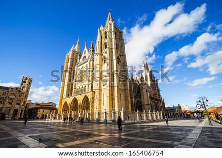 Gothic Cathedral of Leon, Castilla Leon, Spain - stock photo