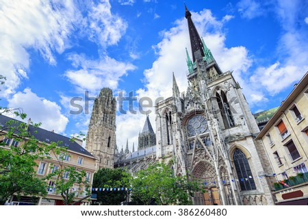 Gothic cathedral of Rouen, Normandy, France, is on UNESCO World Culture Heritage Site list - stock photo