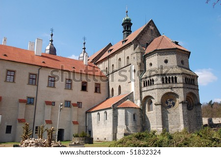 Gothic cathedral outside in Trebic, Czech Republic - stock photo
