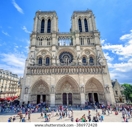 Gothic Catholic Cathedral Notre-Dame de Paris, France, is one of the largest and well known churches in the world - stock photo