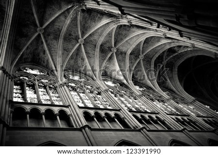 Gothic ceiling in the Saint Vincent de Paul church in Marseille, France - stock photo