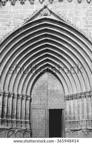 Gothic church door - stock photo