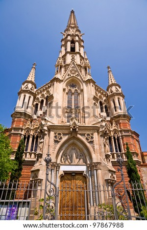 Gothic church (in front view) - stock photo