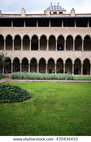 Gothic cloister of Pedralbes Monastery. Barcelona, Spain
