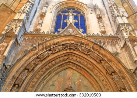 Gothic decorations around the main entrance to an old church in Aix-en-Provence, France - stock photo