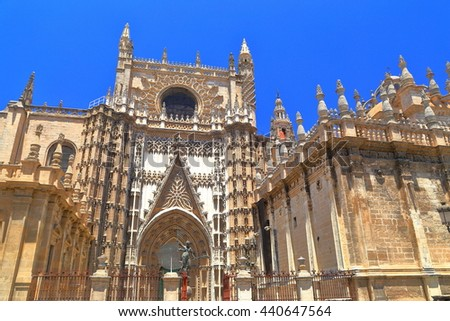 Gothic decorations of the Cathedral of Saint Mary of the See (Seville Cathedral) in sunny day, Seville, Andalusia, Spain - stock photo