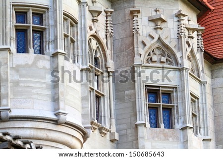 Gothic decorations on medieval castle, Romania