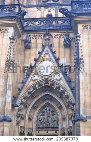 Gothic decorations on the facade and entrance to St Vitus Cathedral, Prague, Czech Republic